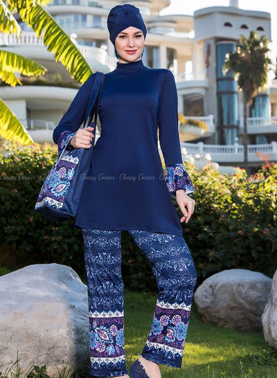 Multicolour Mandala Print Pants Navy Blue Full Bodysuit Swimsuit