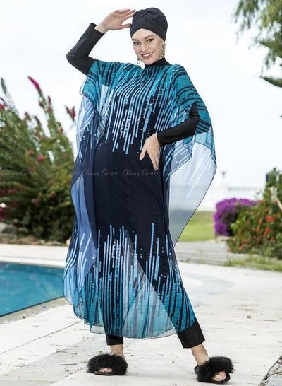Blue Sound Waves Print Swimsuit Cover Up