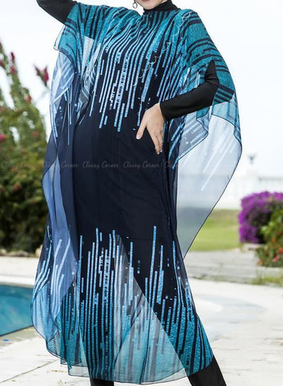 Blue Sound Waves Print Swimsuit Cover Up Closed Up