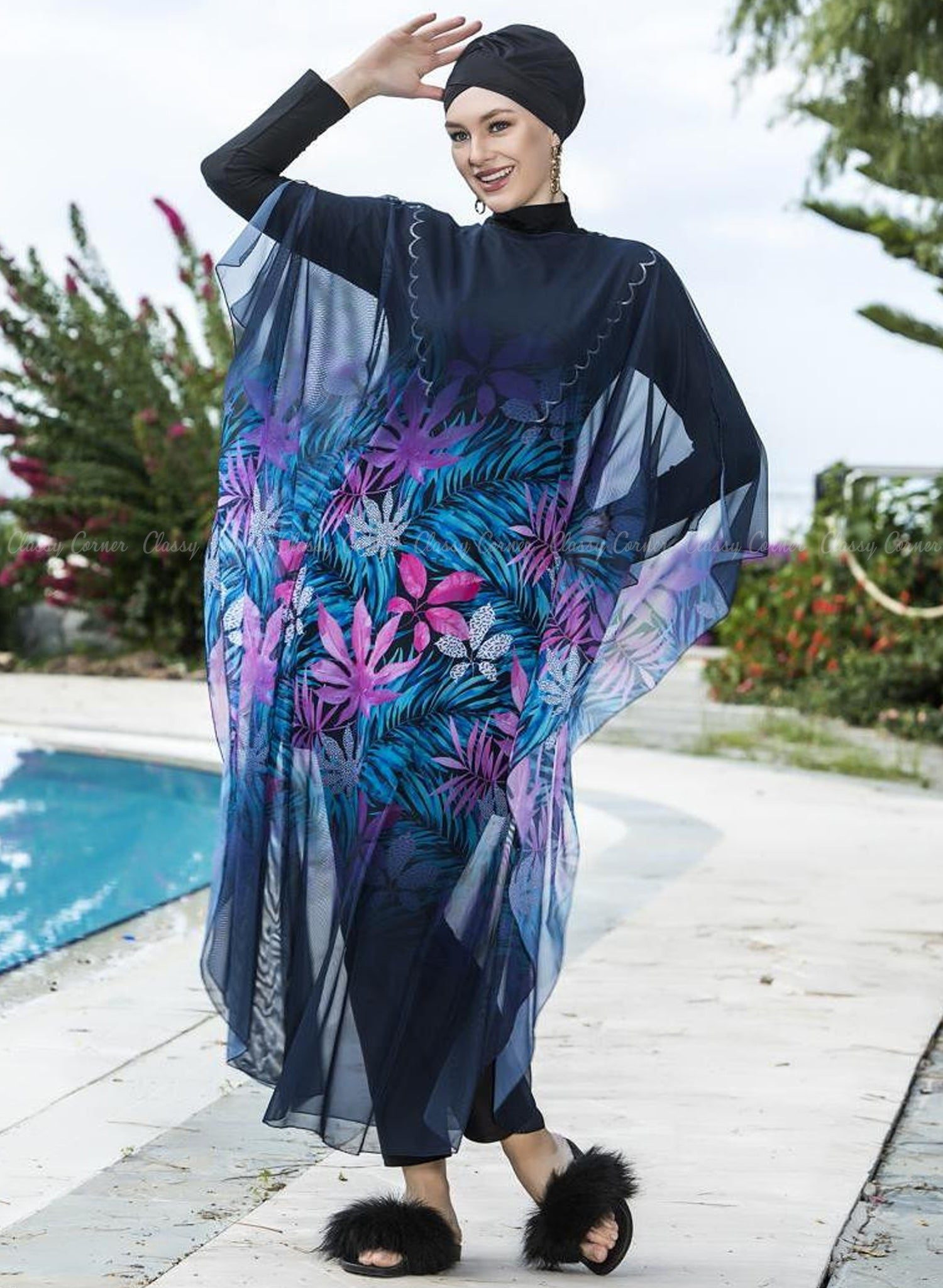 Multicolour Leafy Print Navy Blue Swim Wear Cover Up