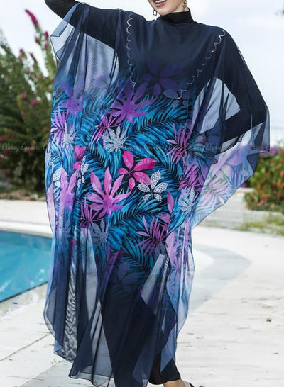 Multicolour Leafy Print Navy Blue Swimsuit Cover Up Closed Up
