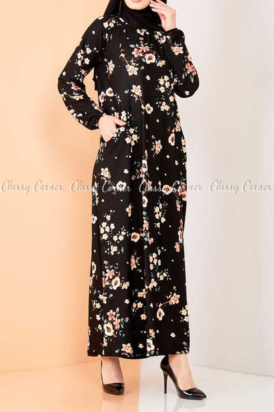 Neutral Blossom Print Black Modest Long Dress - front view