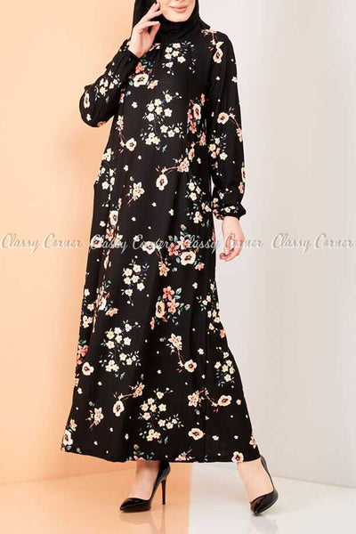 Neutral Blossom Print Black Modest Long Dress - right view
