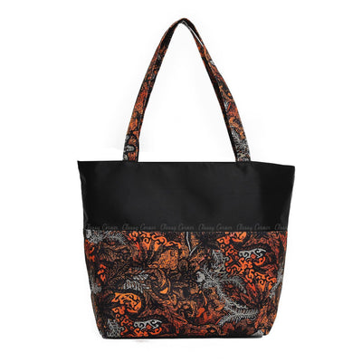 Orange Leafy Abstract Prints with Zipper Black Beach Bag