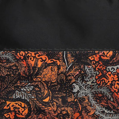Orange Leafy Abstract Prints with Zipper Black Beach Bag Closed Up
