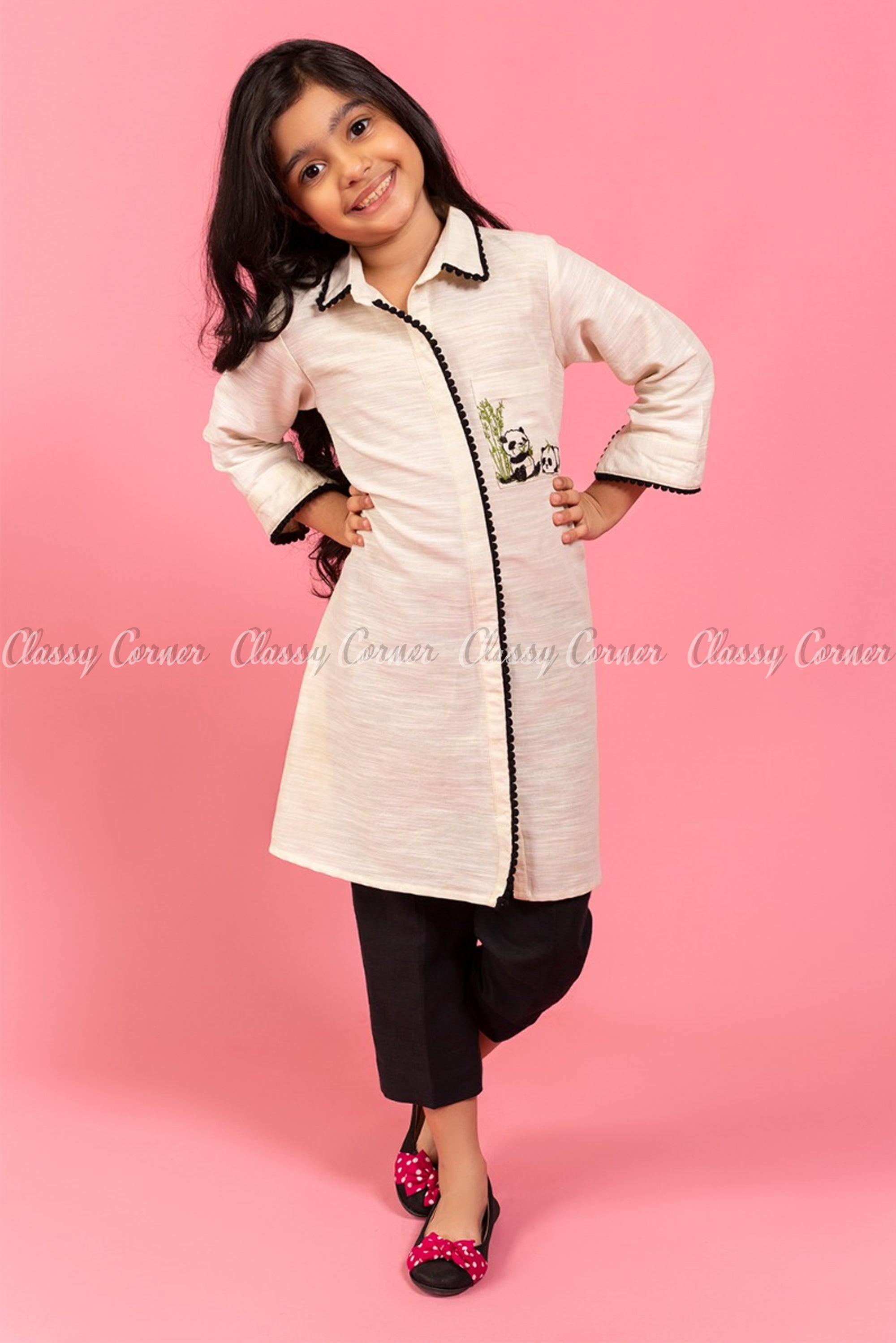 Panda Embroidery White and Black Kids Salwar Kameez