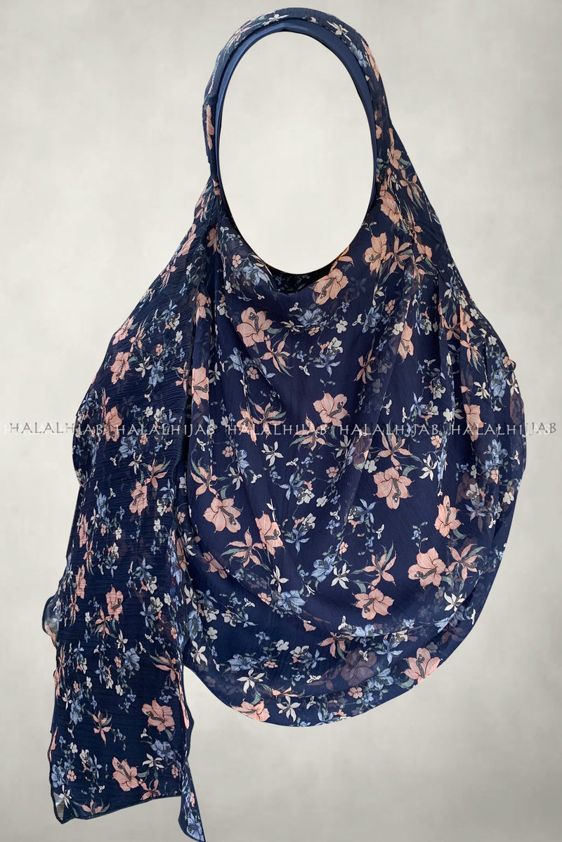 Peach Floral Navy Blue Comfy Instant Hijab