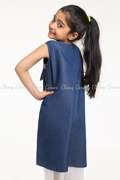 Pineapple Embroidery Design Denim Blue Kids Salwar Kameez - back view