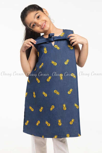 Pineapple Embroidery Design Denim Blue Kids Salwar Kameez - front view