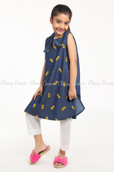 Pineapple Embroidery Design Denim Blue Kids Salwar Kameez - side view