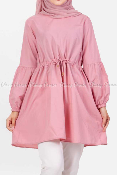 Pink Modest Tunic Dress - full front view