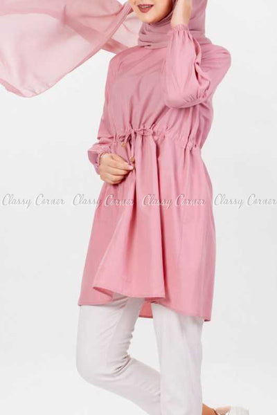 Pink Modest Tunic Dress - left side view