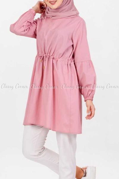 Pink Modest Tunic Dress - right side view