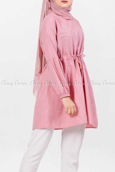 Pink Modest Tunic Dress - side view details