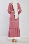 Pink Ruffled Bottom Skirt Modest Long Dress back view