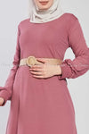 Pink Ruffled Bottom Skirt Modest Long Dress - closer details