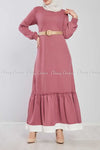Pink Ruffled Bottom Skirt Modest Long Dress - front view
