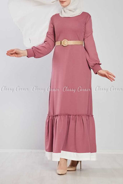 Pink Ruffled Bottom Skirt Modest Long Dress - full front view