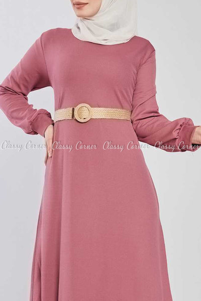 Pink Ruffled Bottom Skirt Modest Long Dress - top details