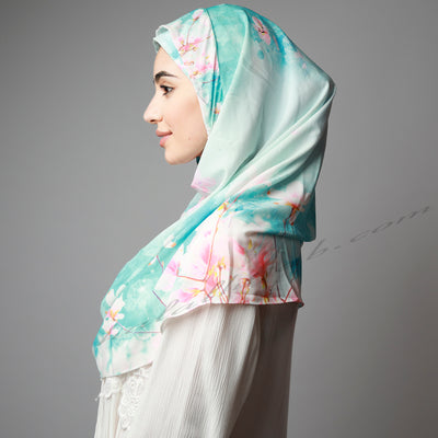 Pink Blue Cherry Blossom Printed Luxurious Instant Hijab