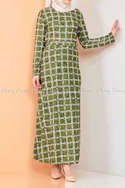 Plaid Pattern Green Modest Long Dress - front view
