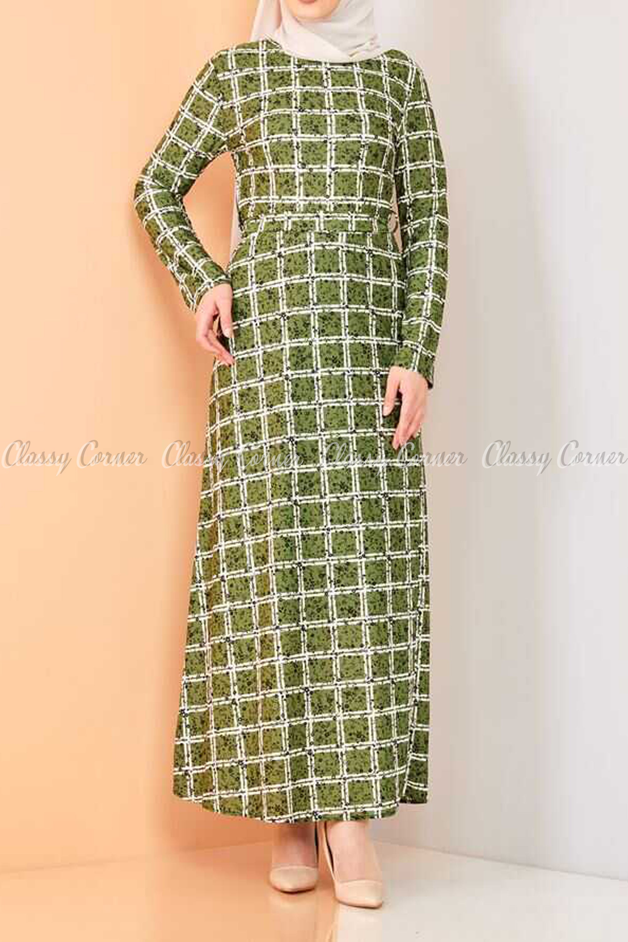 Plaid Pattern Green Modest Long Dress
