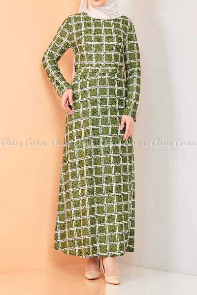 Plaid Pattern Green Modest Long Dress - full front view
