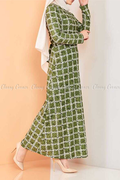Plaid Pattern Green Modest Long Dress - left side view