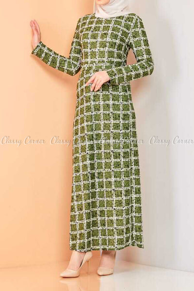 Plaid Pattern Green Modest Long Dress - right side view