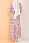 Plaid Pattern Powder Pink Modest Long Dress - back view