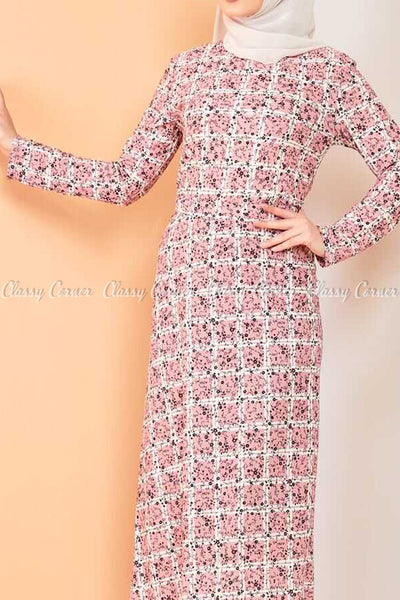 Plaid Pattern Powder Pink Modest Long Dress - front view