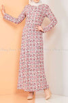 Plaid Pattern Powder Pink Modest Long Dress - full front view