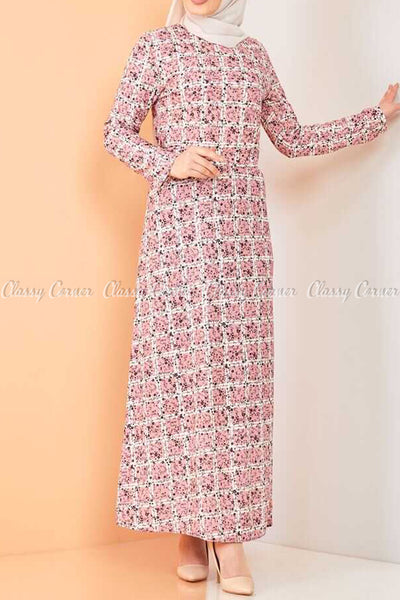 Plaid Pattern Powder Pink Modest Long Dress - -left side view