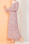 Plaid Pattern Powder Pink Modest Long Dress - right side view