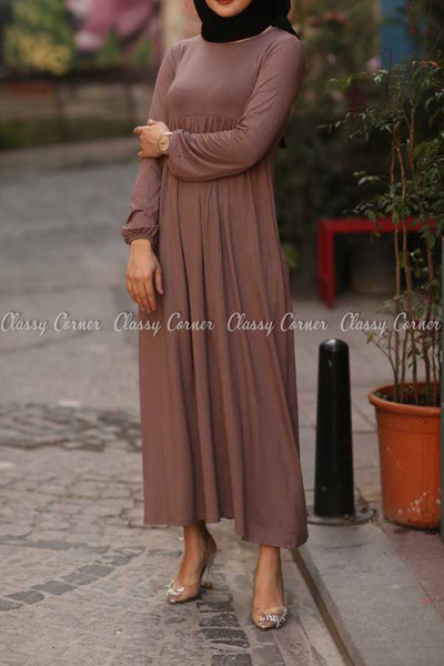 Plain Coffee Brown Modest Long Dress - front details