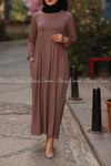 Plain Coffee Brown Modest Long Dress - front dress details