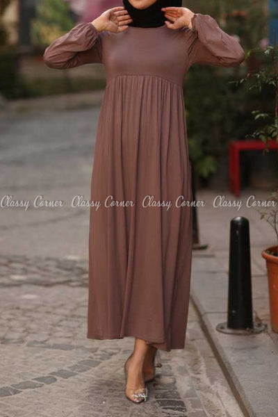 Plain Coffee Brown Modest Long Dress - front view