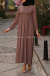 Plain Coffee Brown Modest Long Dress - full dress details