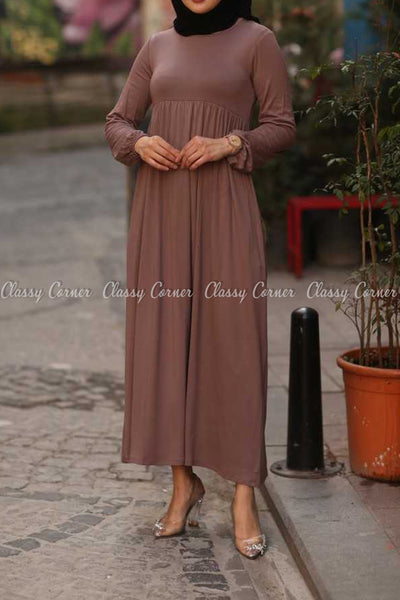 Plain Coffee Brown Modest Long Dress - full front view
