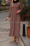 Plain Coffee Brown Modest Long Dress - full view