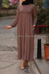 Plain Coffee Brown Modest Long Dress -  full view with pocket
