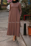 Plain Coffee Brown Modest Long Dress - side pockets