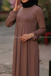 Plain Coffee Brown Modest Long Dress - side view