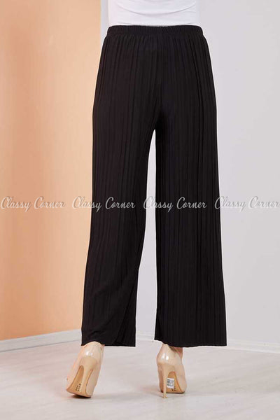Pleated Black Modest Comfy Pants - back view