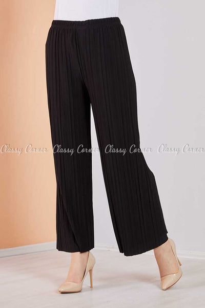 Pleated Black Modest Comfy Pants - front view