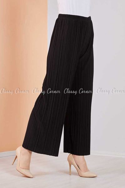 Pleated Black Modest Comfy Pants - left side view