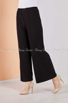 Pleated Black Modest Comfy Pants - right side view