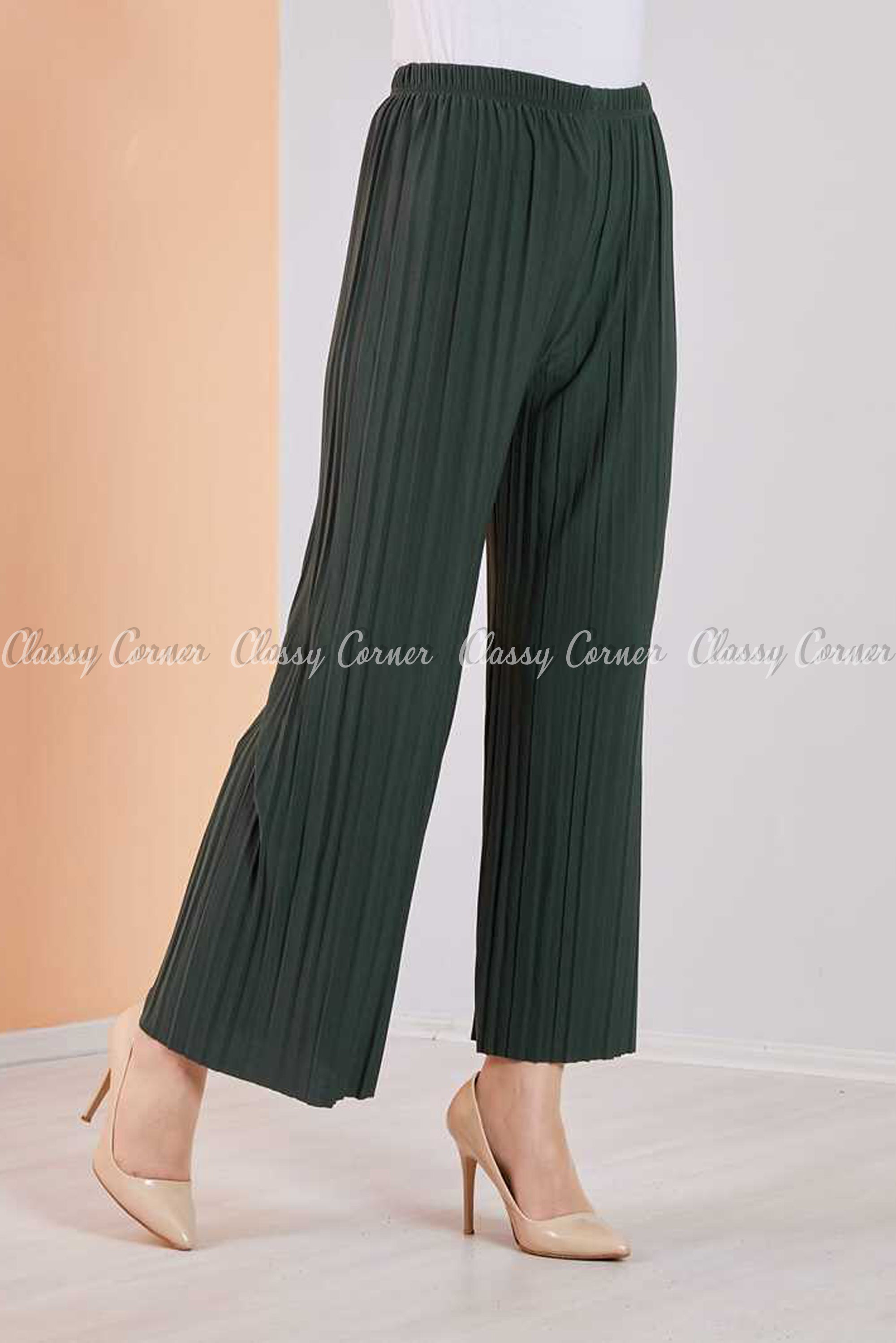 Pleated Green Modest Comfy Pants