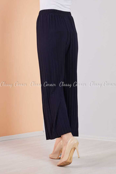 Pleated Navy Blue Modest Comfy Pants
