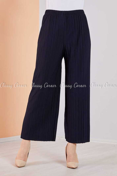 Pleated Navy Blue Modest Comfy Pants - front view